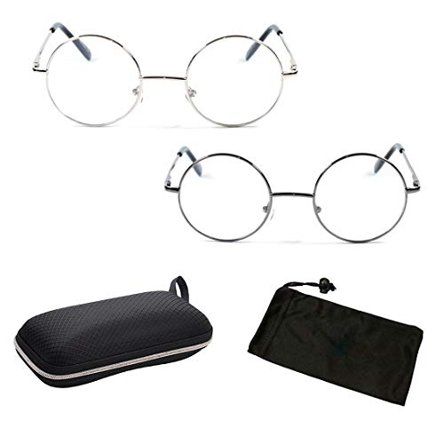 2 Pairs Non-Prescription Circle Round Reading Glasses with Spring Hinged (CLEAR LENSES- No Strength)