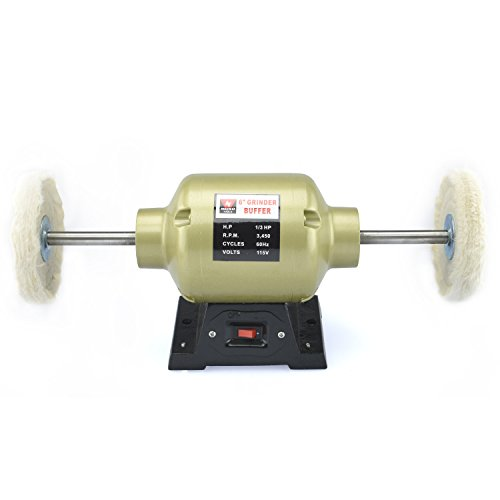 Neiko 10205A 6-Inch Bench Grinder Buffer, 2 Buffing Wheels |  1/3 HP | 270 Watt | 3450 RPM (Combination Bench Grinder)