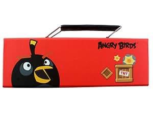 Black Angry Bird on Red Background Plumier Estuche Plumier Estuche
