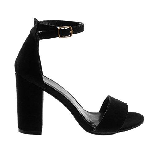 Angkorly Damen Schuhe Sandalen Pumpe - Knöchelriemen - String Tanga - Golden Blockabsatz High Heel 9.5 cm Schwarz 2