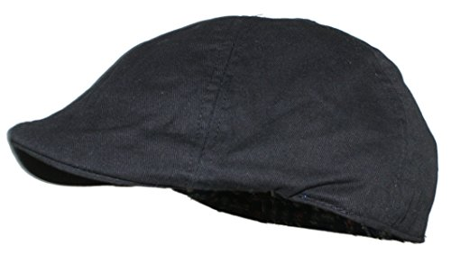 Schoolboy Cap - Ted and Jack - Cotton Adjustable Duckbill Driving Cap with Paisley Lining (Black)