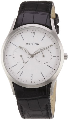 BERING Time 11839-404 Mens Classic Collection Watch with Calfskin Band and scratch resistant sapphire crystal. Designed in Denmark.