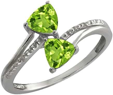 0.96 Ct Genuine Trillion Green Peridot Gemstone 14k White Gold Ring