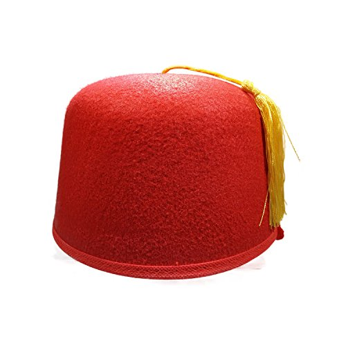 Felt Red Fez Hat Gold Tassel Shriner Turkish Casablanca Moroccan Cap Adult Costume