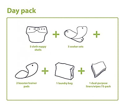Day Pack Cloth Diaper Bundle by nuababy. Includes 5 cloth diaper sets (cover and soakers)-1 large wet bag-1 booster set-1 pack of liners. Perfect gift for a new mom!