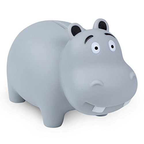 WADDLE Cute Hippo Popular Animal Unisex Piggy Bank Durable Drop Resistant Money Coin Holder for Kids, Babies, Infants, and Toddlers Grey (Gray) | Favorite Unique Gift Idea ()