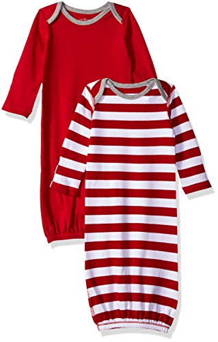 Candy Gown Stripe (Moon and Back Baby Organic 2-Piece Sleeper Gown, red Cranberry, 0-6 Months)