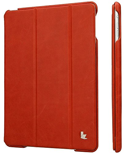 Jisoncase JS-ID6-04A30 Vintage Genuine Leather Smart Cover Case for iPad Air 2 and iPad Air, Red