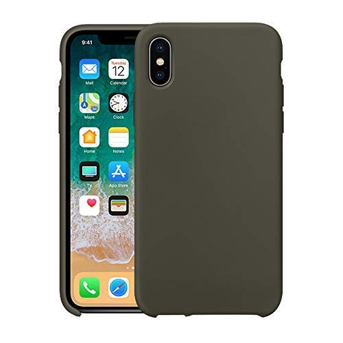 VANYUST Liqid Silicone Gel Rubber Shockproof Case Soft Microfiber Cloth Lining Cushion Compatible with iPhone Xs Max (Olive Green)