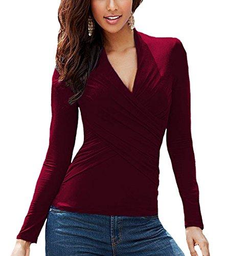 U8Vision Damen V-Ausschnitt Langarm Wickelbluse Shirt Oberteil Tops Gr.S-XL  Dunkelrot 68be484447