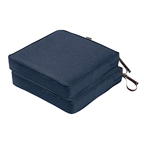 "Classic Accessories Montlake FadeSafe Patio Seat Cushion, 2-Pack, Heather Indigo, 19″W x 19""D x 3""Thick"