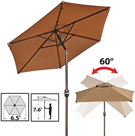 BenefitUSA 6.5 Patio Umbrella Garden Parasol Market Sunshade with Tilt and Crank Tan