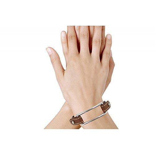 Les Poulettes Bijoux - Bracelet Cuir et Rectangle Argent 925 - Cuir Beige