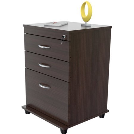 3-Drawer Office Cabinet, File and Documents Organizer, Casters for Easy Mobility, Large Storage Space, Locking System on All Drawers, Desk Furniture, Perfect Home or Work Office by AVA Furniture
