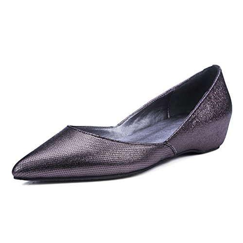 AdeeSu Womens Casual No-Closure Light-Weight Comfort Leather Loafers Shoes SDC05385 Metallic