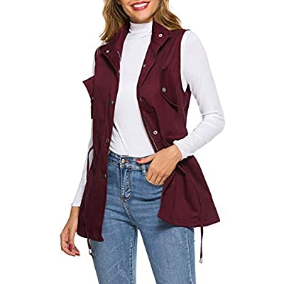UUANG Women's Zip Up Drawstring Sleveeless Jacket Military Vest Outerwear w/Two Pockets: Clothing