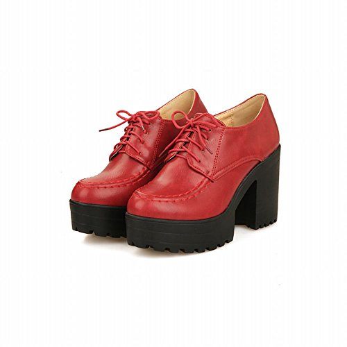 Carol Zapatos Casual Mujeres Lace-up Retro Comfort Plataforma High Chunky Tacón Oxfords Zapatos Rojo