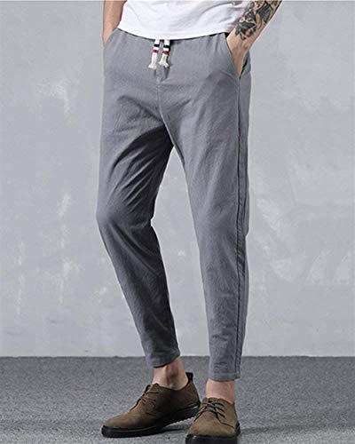 Long Automne Hommes Haidean Rauchfarben Survêtement Linen Décontracté Sport Printemps Pantalon xItxwSA