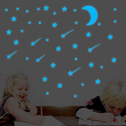 YJYDADA Wall Stickers,Glow In Dark Star Wall Stickers Round Dot Star Moon Luminous Kids Room Decor (B) (Cloud Wallpaper Border)