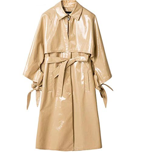 CHANGYUGE Fashion Women Adjustable Waist Loose Faux Leather Trench Coats