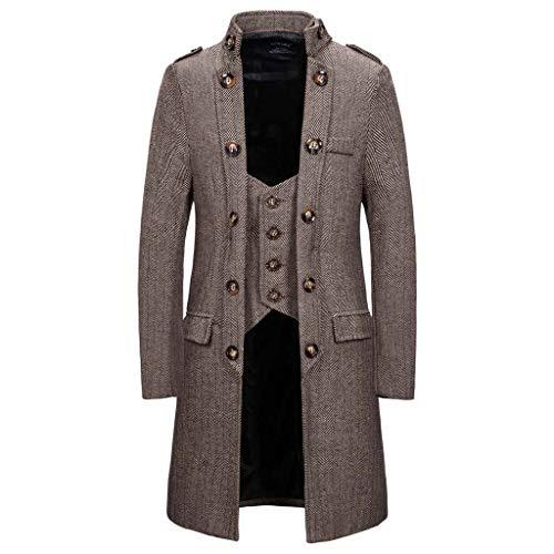MIS1950s Men's Casual Trench Overcoat New Trim Long Outerwear Coat