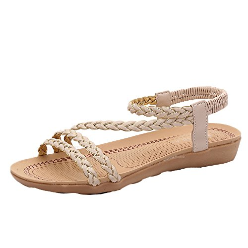 Braided Flat Tie Sky Wear Beige it Comfortable Height Sandals Ladies 2cm to w00qfZI
