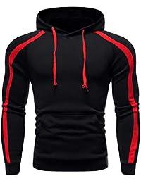 Men's Athletic Fashion Hoodies T-Shirts - Casual Hooded Color Block Long Sleeve Hoodie Pullover Sweatshirt