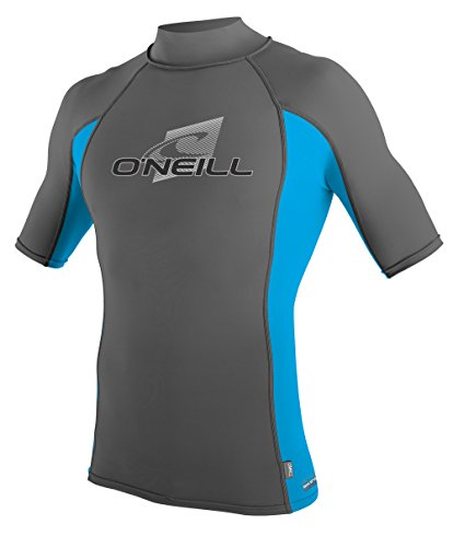 O'Neill Wetsuits Mens Skins Short Sleeve Turtleneck Sun Shirt, Graphite/Sky/Graphite, X-Large