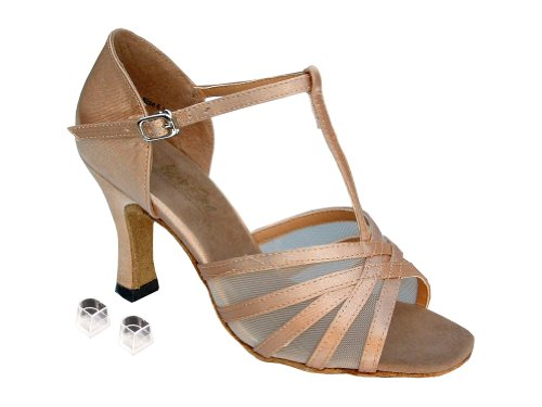 Very Fine Ladies Women Ballroom Dance Shoes EK16612 Brown Satin & Flesh Mesh 2.5'' Heel (8.5M) by Very Fine (Image #1)