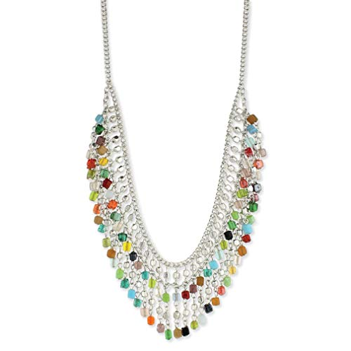 (Melonie Home Mosaic Silver Bib Necklace with Multi Color Beads)