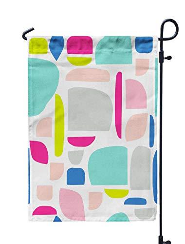 Musesh 12x18 Summer Garden Flag,Memphis Cut Paper Design