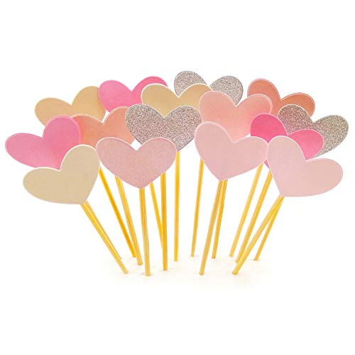 Cupcake Toppers 30Pcs Set, GUCUJI Funny Pink Heart DIY Glitter Mini Birthday Cake Snack Decorations Picks Suppliers Party Accessories for Wedding and Baby Shower
