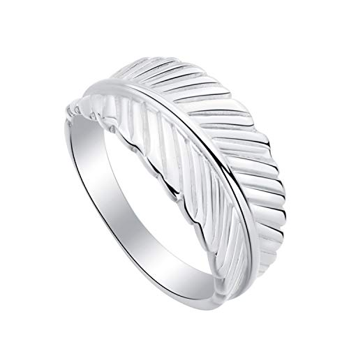 SA SILVERAGE Fashion Feather Ring New 925 Sterling Silver Band Size 13-17 Engaement Rings for Women Men (17)