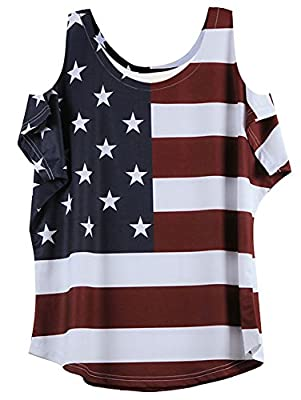 OMONSIM Women's Vogue Shoulder Off Wide Hem Design Top Shirt American Flag T Shirt