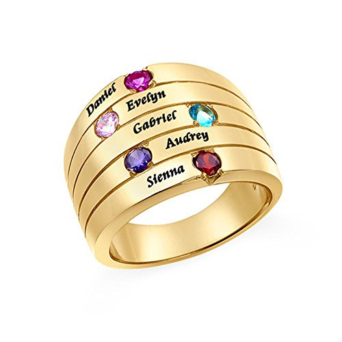 XXI0c2sd2s 925 Sterling Silver Personalized 5 Name Engagement Rings Customized Names Engraved Birthstones Wedding Rings For Women (gold-plated-base - 13)