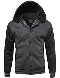 Youstar Men's Varsity wool and Faux leather Sleeve Contrast Stadium Jacket