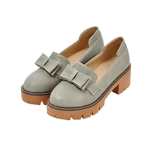 Odomolor Women's PU Solid Buckle Round-Toe Low-Heels Pumps-Shoes Black z8tjb