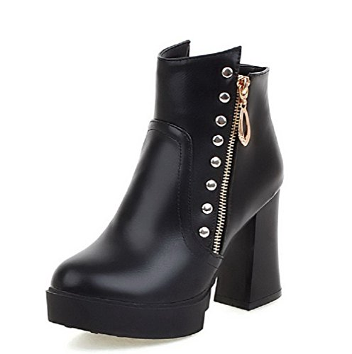 AllhqFashion Womens Round Closed Toe Ankle-High High-Heels Solid PU Boots Black 8sFOx