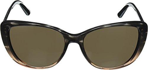 DKNY Women's Plastic Woman Cateye Sunglasses, Brown TR Grad Str Brown, 56 mm