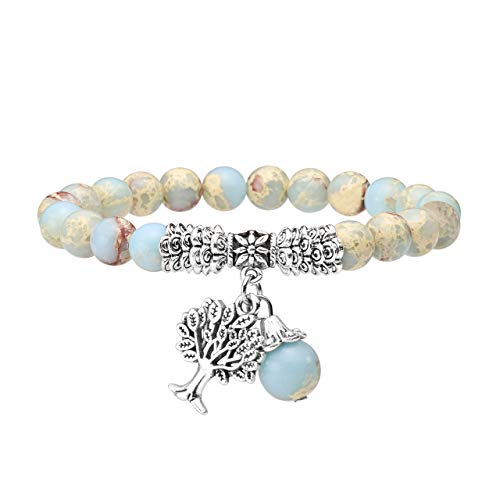 Jovivi 8MM Synthetic Imperial Jasper Natural Gemstone Tree of Life Lucky Charm Stretch Bracelet