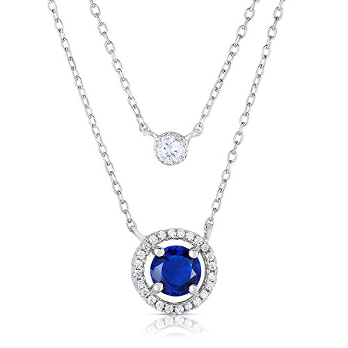 Sterling Silver Sapphire CZ Double Row Necklace with White Cubic Zirconia Princess Diana - 16-17