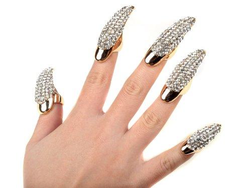 5X False Nail Clear Crystal Claw Paw Talon Finger - Nail Ring