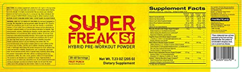 Pharmafreak Super Freak Hybrid Pre-Workout Powder, Raspberry Lemonade, 7.23 Ounce