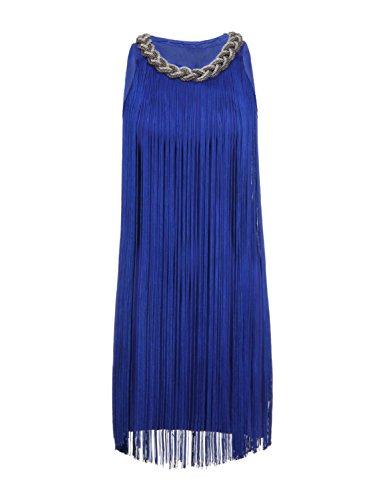 [JustinCostume Women's Fringe Costume 20s Flapper Party Dress (Large, Blue)] (Blue Flapper Dress)