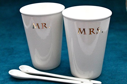 22k Gold Accents - Mr. and Mrs. Porcelain tall cup set for 2 with spoon 22k gold accent- white ceramic cup with spoon- Mr and Mrs cups set and spoon
