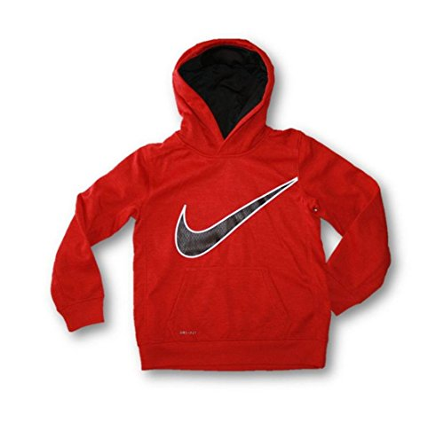 Nike Therma Boy's Dri-Fit Hoodie Sweatshirt Pullover Hoody (Child Size 7, Heather Red, Black, White)