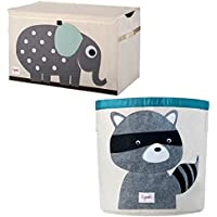 Bundle Includes 2 Items - 3 Sprouts Toy Chest, Elephant, Grey and 3 Sprouts Storage Bin, Raccoon