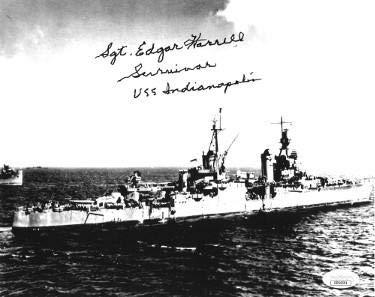 Sgt. Edgar Harrell signed WWII 1943-1945 Vintage B&W 8x10 Photo Survivor USS Indianapolis- Hologram #DD64501 - JSA Certified ()