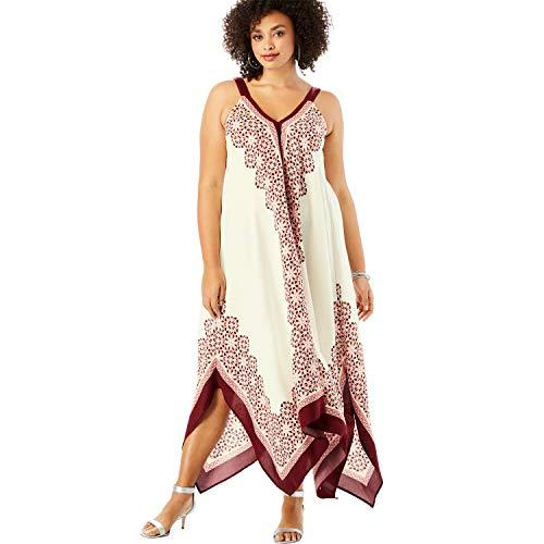 Roamans Women's Plus Size Scarf-Print Maxi Dress with Handkerchief Hem - Ivory Geometric Print, 30/32 ()