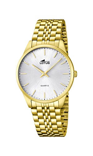 Lotus Men's Quartz Watch with White Dial Analogue Display and Gold Stainless Steel Plated Bracelet 15885/2